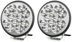 2 Pack 6 Round Led Offroad Pod Lights Bar 36w With Mounting Bracket Bumper Rack