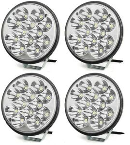 4x Round 6 Led Offroad Lights Bar 36w With Mounting Bracket Bumper Chase Rack