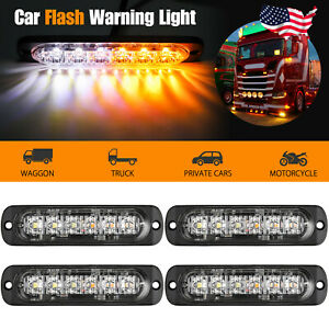 4pcs Amber 6 Led Car Truck Emergency Beacon Warning Hazard Flash Strobe Light