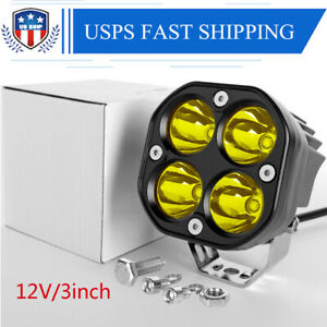 3 Led Work Light Pods For 4x4wd Off Road Auto Car Driving Yellow Spotlight Usa