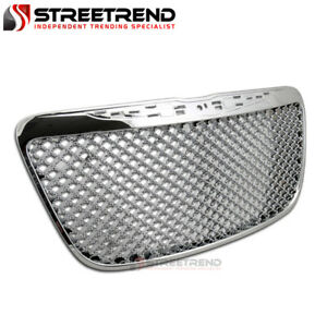 For 2011 2014 Chrysler 300 300c Chrome Luxury Mesh Front Bumper Grill Grille Abs