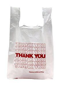 New 50 Ct Plastic Shopping Bags T shirt Type Grocery White Small Size Bags