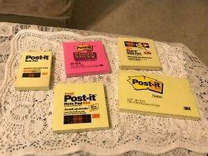 Lot Of 5 Post it Note Pads Pink Yellow 3 Sizes New