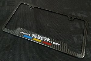 X1 Mugen Power Carbon Fiber Look License Plate Frame Stainless Steel Metal