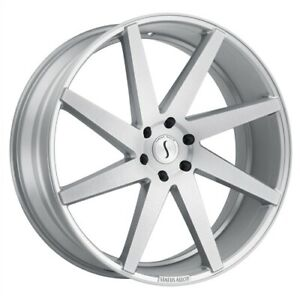 Set Of 4 Status Wheels Brute 22x9 5 5x114 3 30 Silver Brushed Machine Face