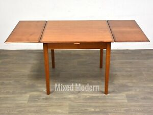 Danish Teak Mid Century Modern Square Draw Leaf Dining Table