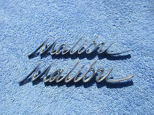 1966 1967 Chevrolet Malibu Chrome Script Emblems