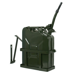 5 Gallon 20l Gas Jerry Can Fuel Steel Tank Emergency Backup Army Military Holder