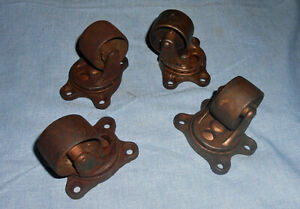 Set Of 4 Antique Gem Industrial Bearing Casters 2 1 2 Steam Punk