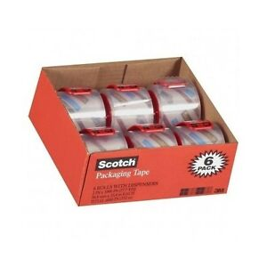 3m Scotch Tape Clear Shipping Packaging Packing Heavy Duty 6 Rolls W dispensers
