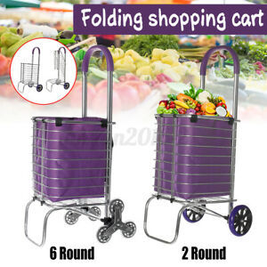 Folding Shopping Cart Grocery Trolley Laundry Stair Climbing Handcart W bag