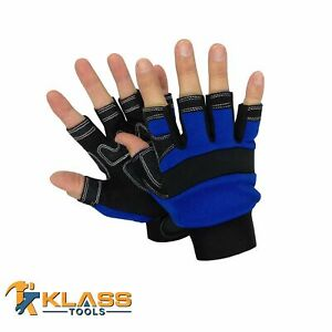 Fingerless Mechanic Gloves W synthetic Leather Palm 1 Pair By Klasstools