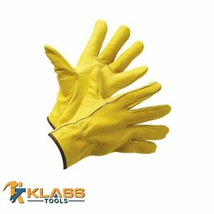 Cow Grain Premium Golden Brown Leather Working Gloves 2 Pairs By Klasstools