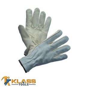 Premium Leather Working Gloves W Split Leather Back 4 Pairs By Klasstools