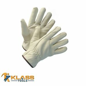 Fleece Lined Cow Grain Leather Working Gloves 4 Pairs By Klasstools