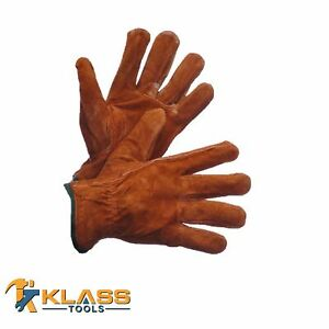 Brown Suede Leather Working Gloves 1 Pair By Klasstools