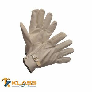 Lined Goatskin Leather Working Gloves W Adj Strap 2 Pairs By Klasstools