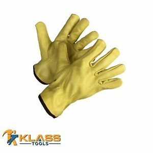 Cow Grain Golden Brown Leather Working Gloves 4 Pairs By Klasstools