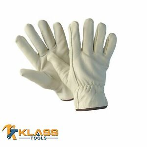 Cow Grain D f Grade Leather Working Gloves 12 Pairs By Klasstools