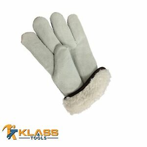 Pile Lined Suede Leather Working Gloves 6 Pairs By Klasstools