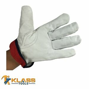 Lined Goatskin Leather Working Gloves 6 Pairs By Klasstools