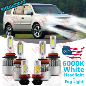 6x 6000k Combo H11 9005 Led Headlight Fog Light Bulbs For Honda Pilot 2006 2018