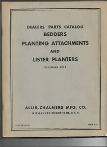 12 57 Allis Chalmers Bedders Planting Attachments Lister Planters Parts Catalog