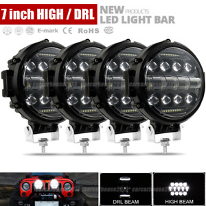 4x 7 inch 144w Drl Round Off Road Led Work Lights Fit Jeep Bumper Truck Boat 4wd