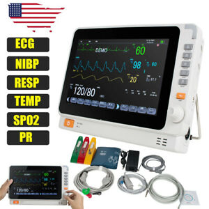 Portable 10 Patient Monitor Vital Signs Icu Ecg Nibp Resp Temp Spo2 Pr Machine