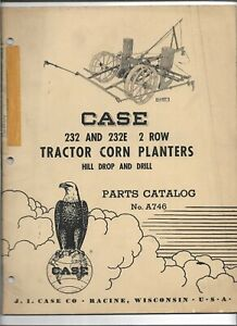 Original 05 1957 Case 232 232e 2 Row Tractor Corn Planters Parts Catalog A746
