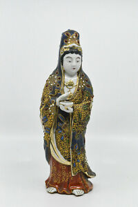 Antique Japanese Satsuma Porcelain Guan Yin Statue 9 5 Inches