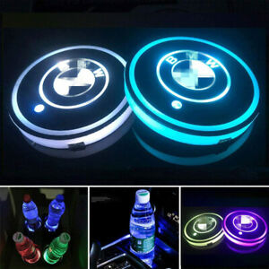 2pcs Led Car Logo Cup Holder Pad 7 Colors Changing Atmosphere Lights For Bmw