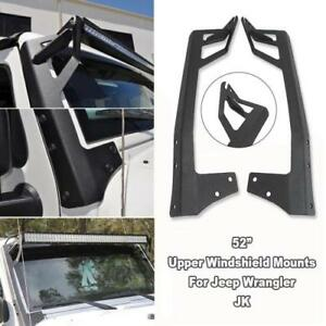 52 Inch Led Work Light Bar Windshield Mount Bracket For Jeep Wrangler Jk 07 17