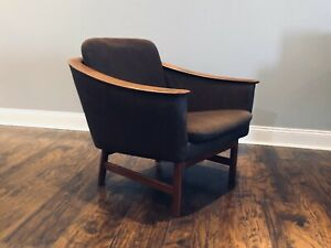 Vintage Westnofa Norway Mid Century Modern Mcm Bent Wood Armed Teak Lounge Chair