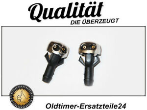 2x Washer Nozzle Spray Chrome For Mercedes Windscreen Cleaning