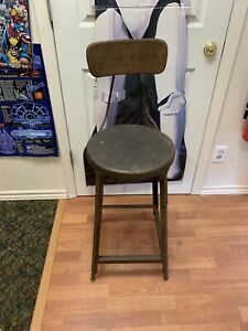 Vintage Retro Industrial Hallowell Metal 39 Inch Stool Chair