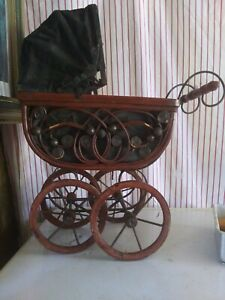 Baby Doll Stroller Vintage Wood Carriage Iron Frame Wheel Ornate Wicker 9 X 11