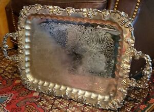 Vintage Grape Motif Sheffield Silver Plated Handled Serving Tray 27 X 16