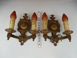 Antique Cast Metal Wall Sconce Matching Pair