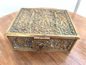 Vintage Antique Erhard Sohne German Brass Jewelry Box Germany Repousse