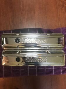 Edelbrock Small Block Chevrolet Chrome Valve Covers Good Used Condition