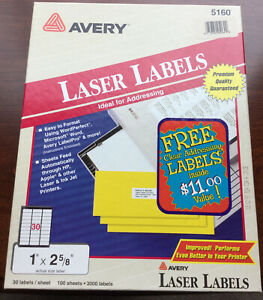 Avery 5160 Laser Labels 1 X 2 5 8 72 Sheets 2 160 Labels