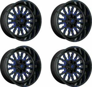 Set 4 20 Fuel D645 Stroke 20x10 Black Blue Tint 8x180 Wheels 18mm Truck Rims