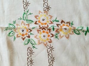 Beautiful Vintage Hand Embroidered Linen Tablecloth 68 X 86 Inches