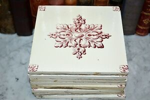 One Antique Maw Co England Victorian Tile Acanthus Rosette Pattern 8 Available