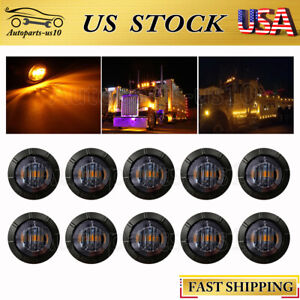 10x 3 4 Bullet Round Smoked Amber Led Side Marker Lights For Trailer Truck