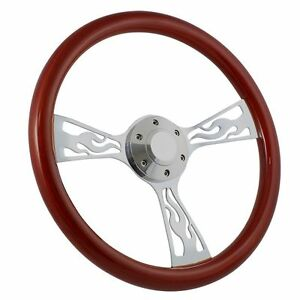 Flamed Chrome And Mahogany 15 Steering Wheel Hot Rod Rat Rod Muscle Car