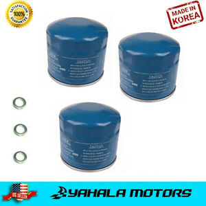 3 Pcs Engine Oil Filter For 86 19 Hyundai Kia With Washers