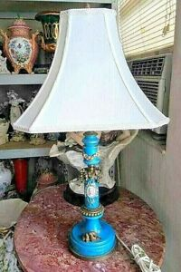 Antique French Sevres Style Porcelain And Bronze Table Lamp