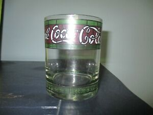 Vintage ENJOY COCA-COLA Drinking Glass Tiffany Style Stained Clear Coke
